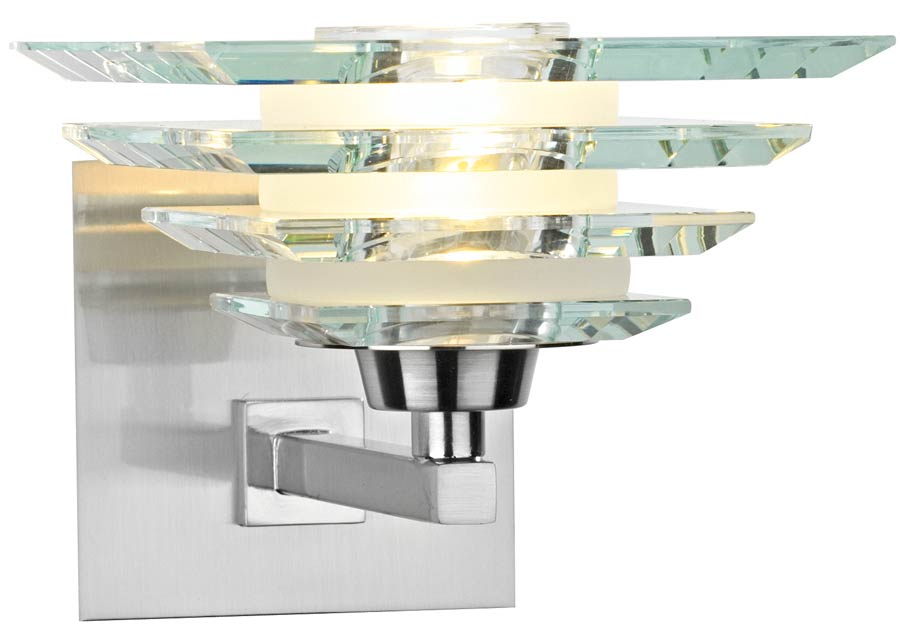 Deco Style Wall Lights : Dar Stirling Art Deco Style Glass Pyramid Wall Light Chrome STI0746