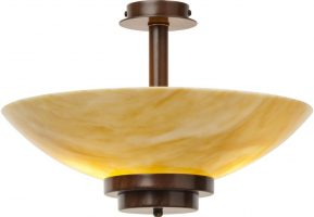 Stratton Art Deco Amber Glass Semi Flush Antique Finish Light UK Made