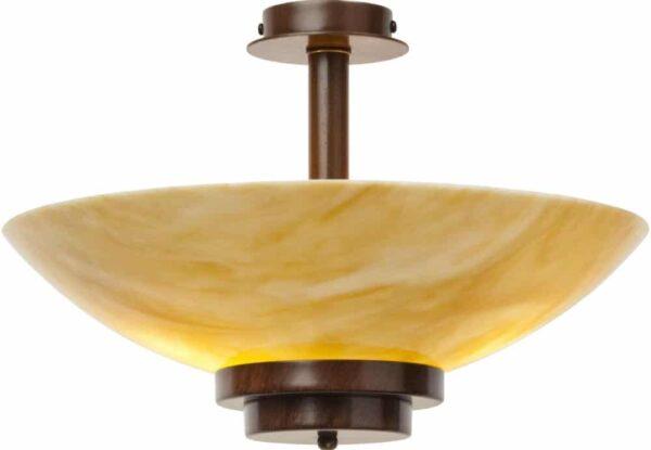 Stratton Art Deco Amber Glass Semi Flush Antique Finish Light UK Made
