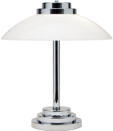 Stratton Art Deco Style Chrome And Opal Glass Table Lamp UK Made