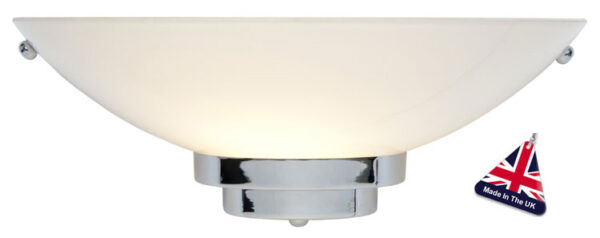 Stratton Art Deco Style Chrome And Opal Glass Wall Light UK Made