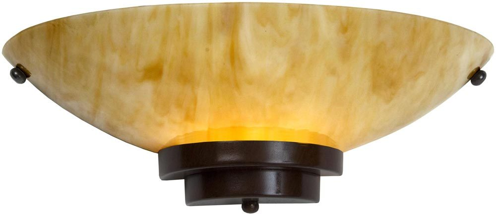British Made Wall Lights : Stratton Art Deco Style Antique Finish Amber Glass Wall Light UK Made