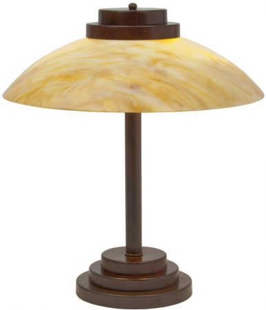 Stratton Art Deco Style Antique Finish Amber Glass Table Lamp UK Made