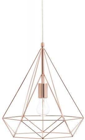 Dar Sword Contemporary Wire Prism 1 Light Pendant Copper