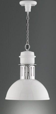 Franklite Sassy Gloss White Industrial Pendant Light Chrome