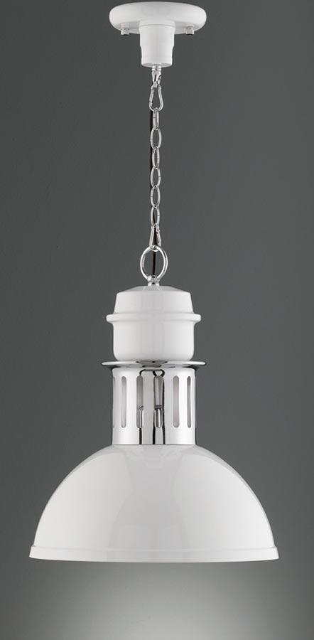 Industrial Style Single Pendant Ceiling Light Gloss White Polished Chrome