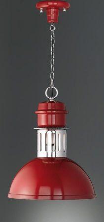 Franklite Sassy Burgundy Industrial Pendant Light Chrome