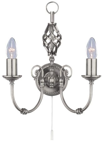 Zanzibar 2 Light Satin Silver Wrought Iron Switched Wall Light