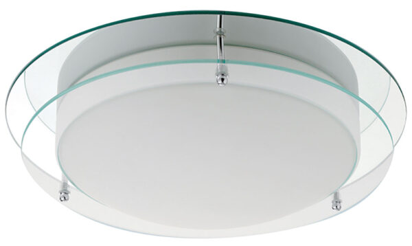 Bathroom Flush 20w LED Ceiling Light Mirror & Opal Glass IP44