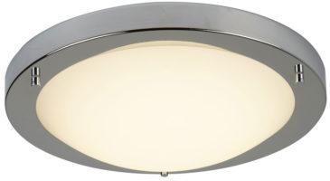 Bathroom Flush 12w LED Ceiling Light Satin Silver Opal Glass