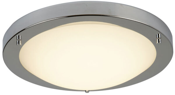 Bathroom Flush 12w LED Ceiling Light Satin Silver Opal Glass