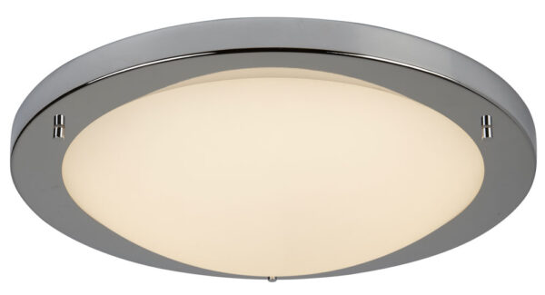 Bathroom Flush 20w LED Ceiling Light Polished Chrome Opal Glass