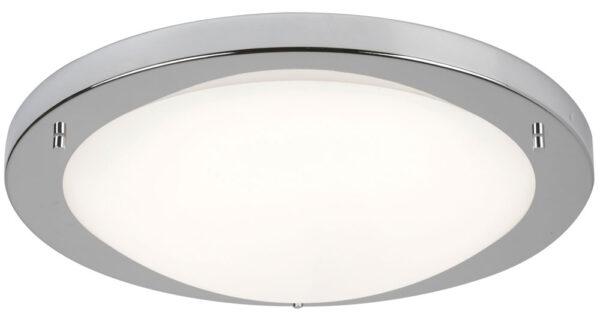 Bathroom Flush 20w LED Ceiling Light Satin Silver Opal Glass