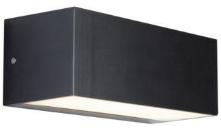 Outdoor 14w LED Trough Wall Light Dark Grey Opal Shade IP65
