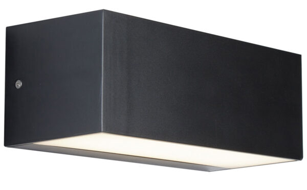 Outdoor 14w LED Trough Wall Light Dark Grey Opal Shade IP65