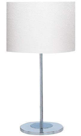 Drum Table Lamp Polished Chrome Base Ivory Fabric Shade