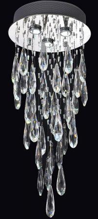 Franklite Shimmer Chrome 3 Light LED Crystal Chandelier