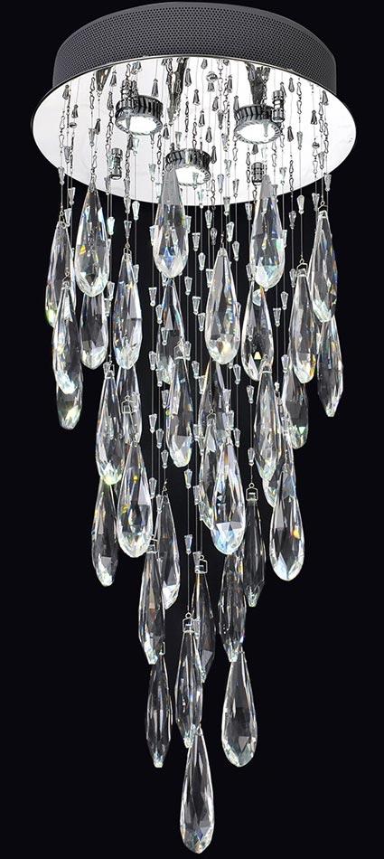 Franklite FL2320/3 Shimmer chrome 3 light LED crystal chandelier
