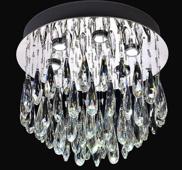 Franklite Shimmer Flush Chrome 6 Light LED Crystal Chandelier