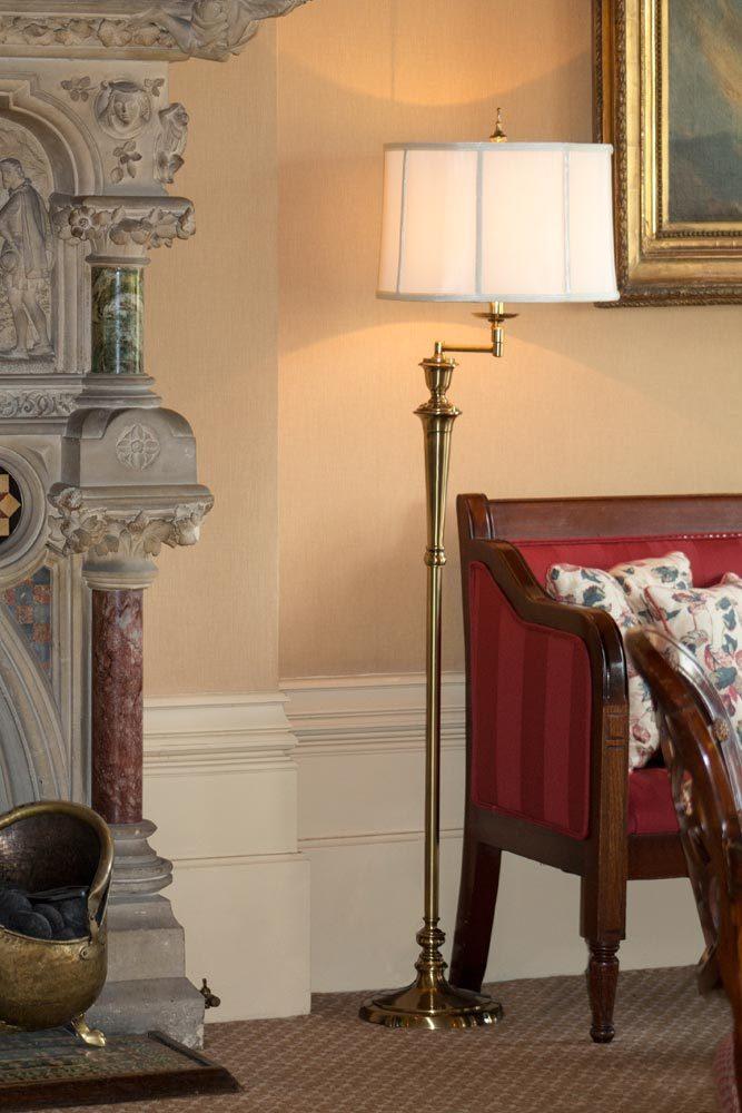 Stiffel Arlington Swing Arm Floor Lamp Antique Nickel Off