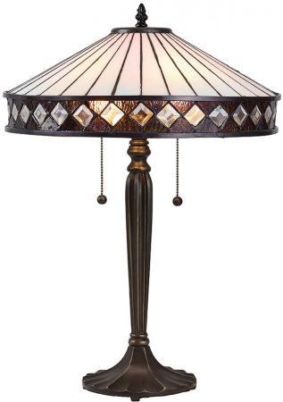 Fargo Art Deco Style 2 Light Tiffany Table Lamp