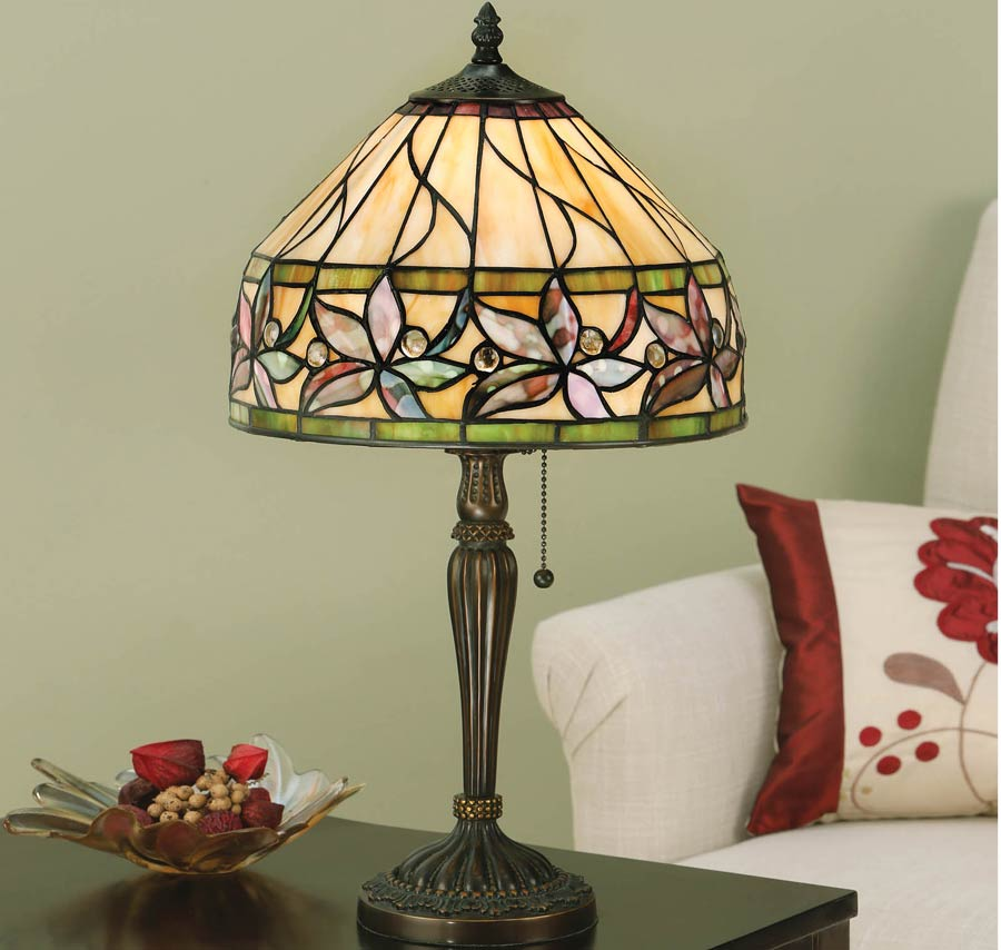 Ashtead Art Nouveau Small Floral Tiffany Table Lamp 63915