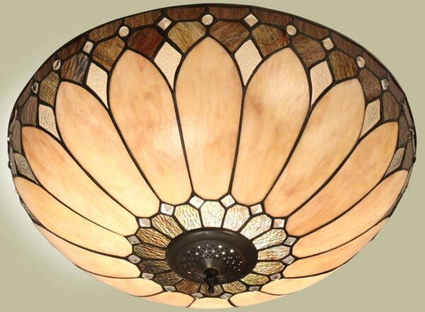 Brooklyn Flush 2 Light Tiffany Ceiling Lamp Art Deco Style