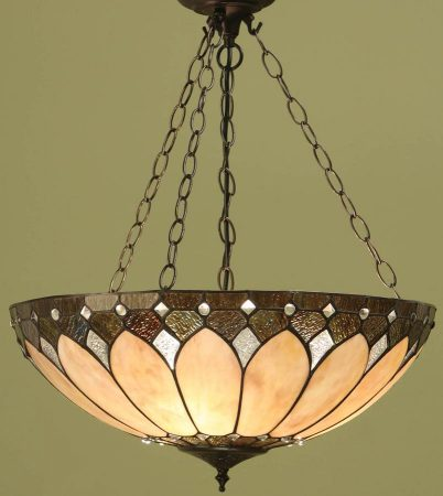 Brooklyn Large Tiffany 3 Chain Pendant Light Art Deco Style