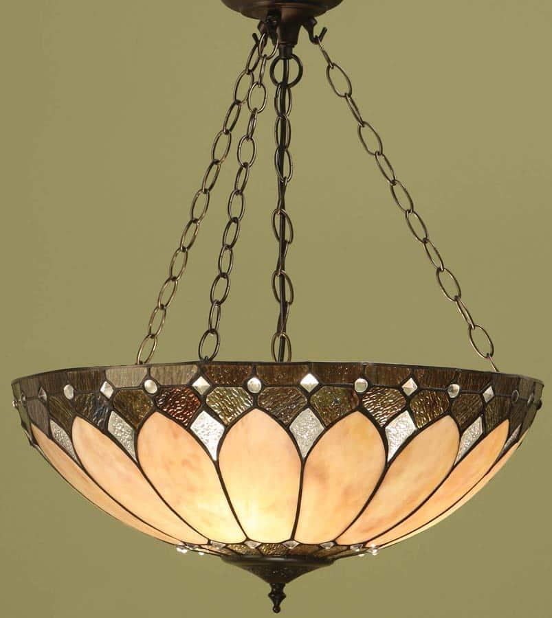 Brooklyn Large Tiffany 3 Chain Pendant Light Art Deco Style 63976
