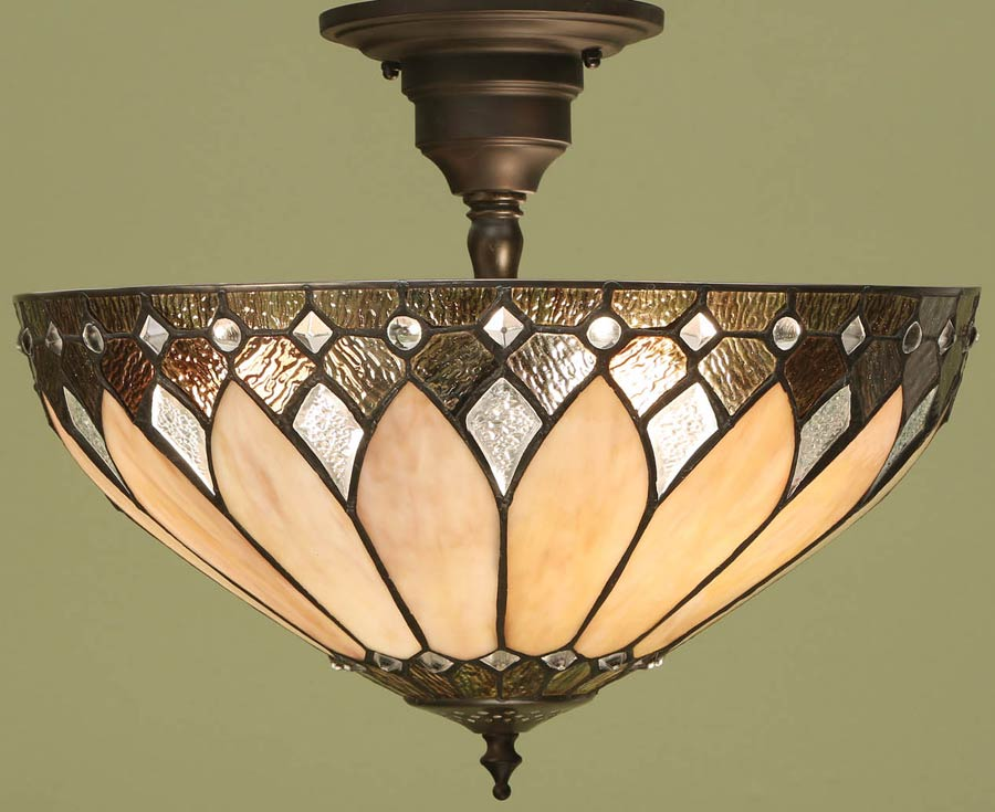 Brooklyn semi flush 3 light tiffany lamp art deco style