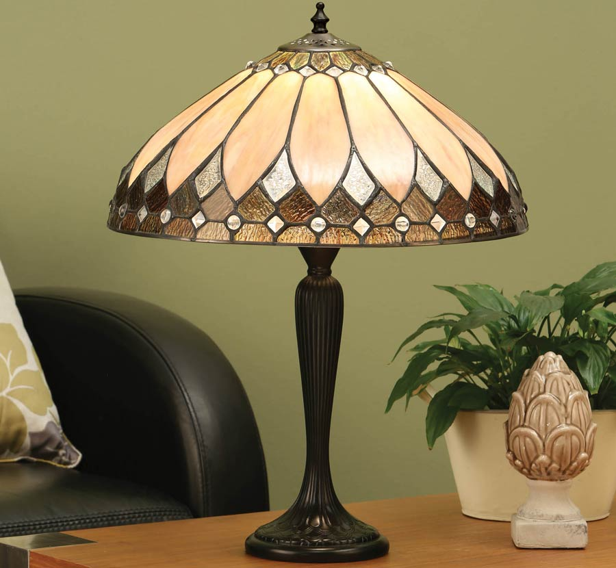 Brooklyn Standard Base Tiffany Table Lamp Art Deco Style 63982
