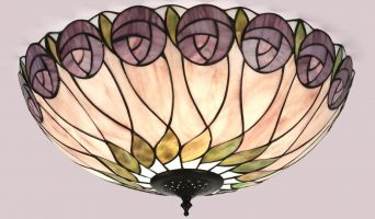 Hutchinson Mackintosh Rose Flush Tiffany Ceiling Light