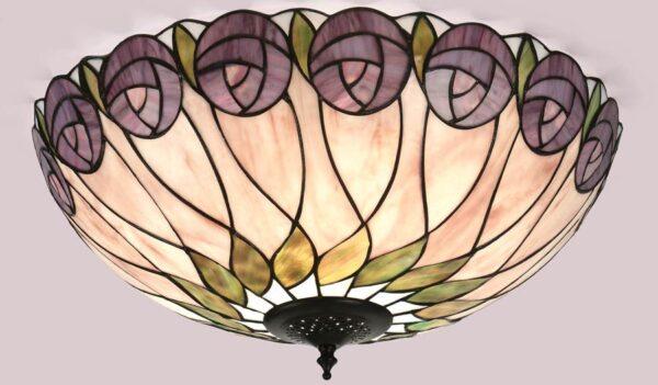 Hutchinson Mackintosh Rose Flush Tiffany Ceiling Light