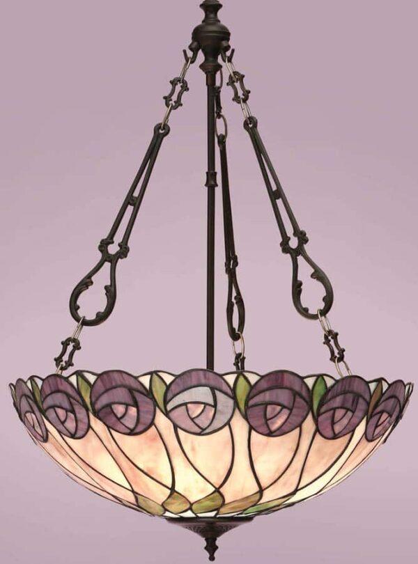 Hutchinson Mackintosh Rose Large 3 Light Tiffany Pendant Uplighter