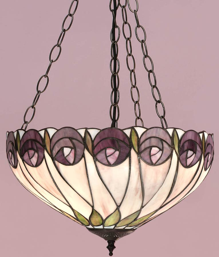 Hutchinson Mackintosh Rose 3 Chain Tiffany Pendant Uplighter 64175