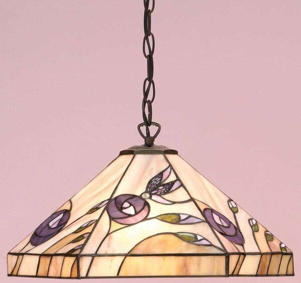 Damselfly Tiffany Pendant Lamp Mackintosh Rose Inspired