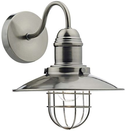 Dar Terrace Caged Lantern Single Wall Light Antique Chrome