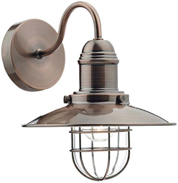 Dar Terrace Caged Lantern Single Wall Light Copper Finish