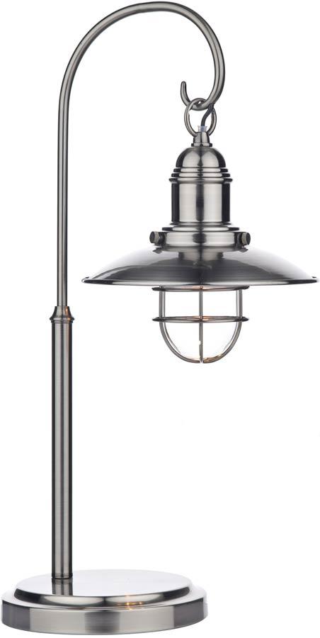 Dar Terrace Caged Lantern Table Lamp Antique Chrome