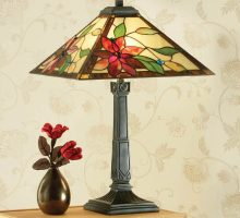 Lelani Traditional 2 Light Floral Pyramid Tiffany Table Lamp