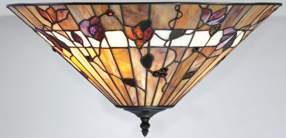 Bernwood Medium Art Glass 2 Lamp Flush Tiffany Ceiling Light