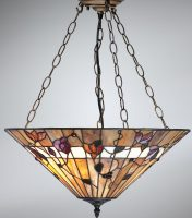 Bernwood Large Art Glass 3 Lamp Tiffany Pendant Uplighter