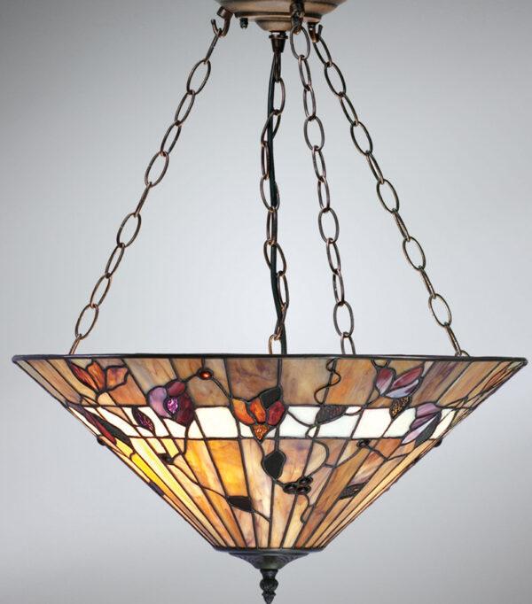 Bernwood Large Art Glass 3 Lamp Tiffany Pendant Uplighter