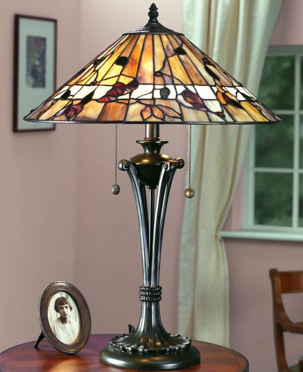 Bernwood Medium 2 Light Art Glass Tiffany Table Lamp