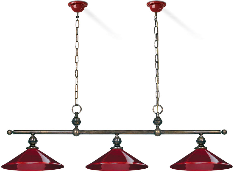 Country Kitchen 3 Light Large Shades Triple Court Pendant