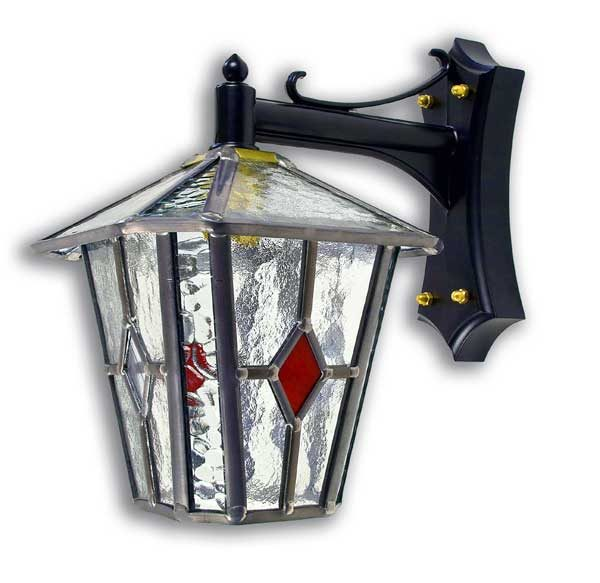 Red Diamond Leaded Glass Outdoor Wall Lantern