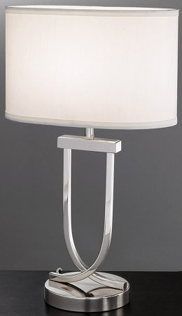 Modern Chrome Table Lamp With Off White Oval Shade