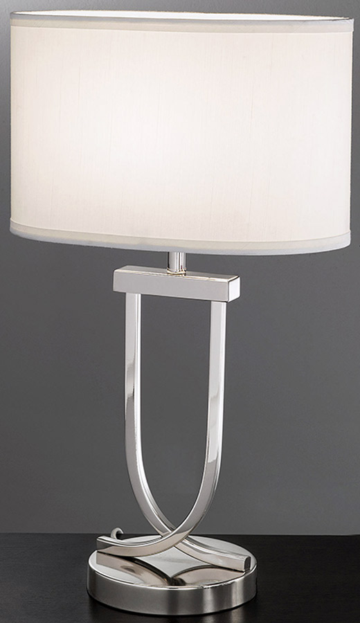 Modern 1 Light Table Lamp Polished Chrome Oval Off White Shade