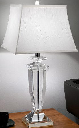 Hugo Heavy Crystal Column Table Lamp With Off White Silk Shade