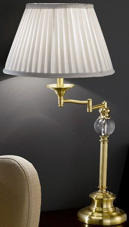 Classic Satin Brass Swing Arm Table Lamp With Shade